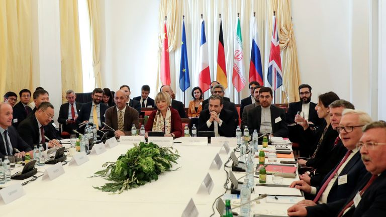 Iran's top nuclear negotiator Abbas Araqchi at a JCPOA (nuclear deal) meeting in Vienna on Friday