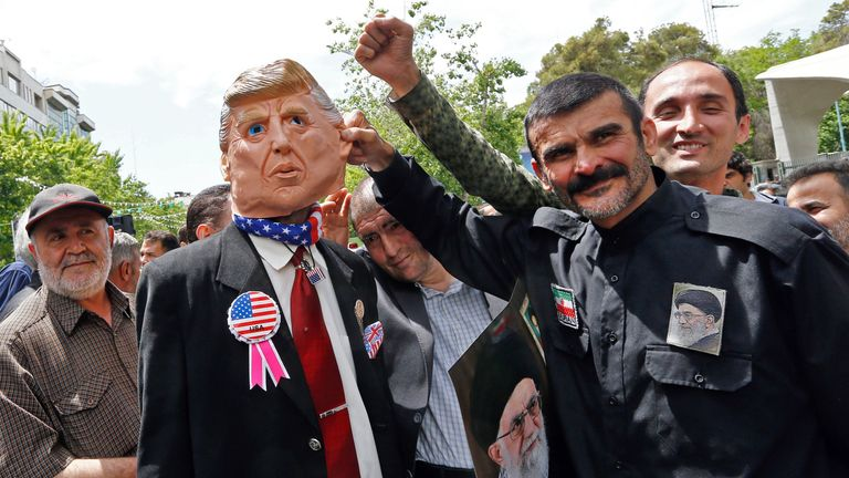 Anti-US protesters in the Iranian capital, Tehran