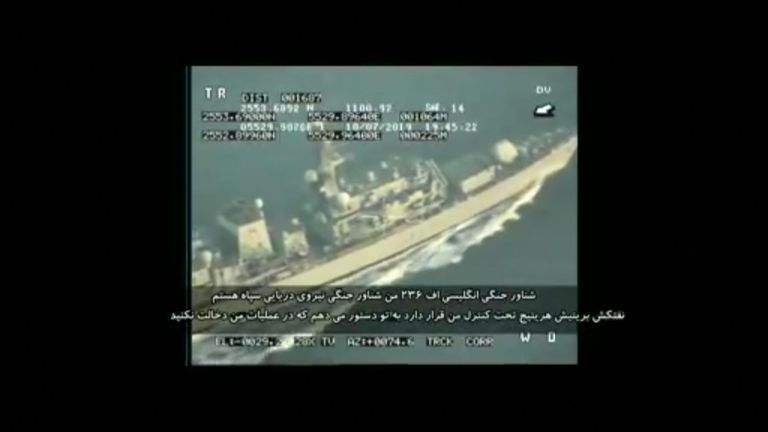 The footage is said to show a British warship being warned off. Pic: Tasnim News Agency