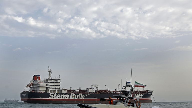 Iranian Revolutionary Guards patrolling around the British-flagged tanker Stena Impero off the Iranian port of Bandar Abbas