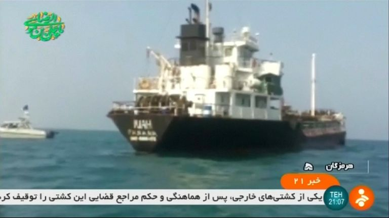 Iran state TV has released footage of the seized foreign tanker which Iran says was smuggling fuel in the Gulf.