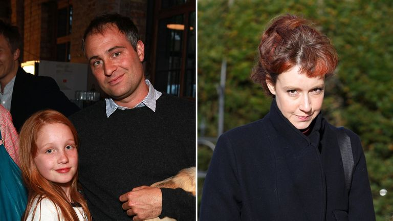 Ben Goldsmith and daughter Iris Annabel (left) and Kate Rothschild (right)