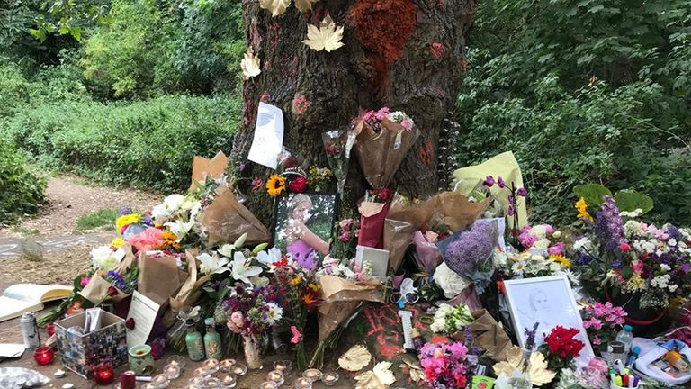 Flowers were left for Iris Goldsmith on Barnes Common in London.
