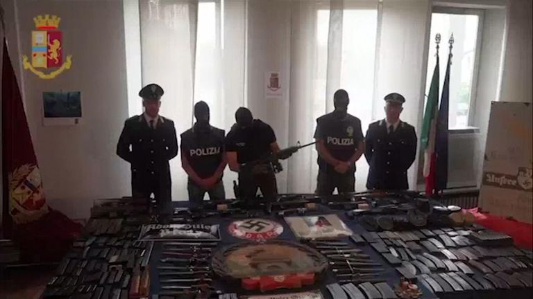Officers with a haul of weapons