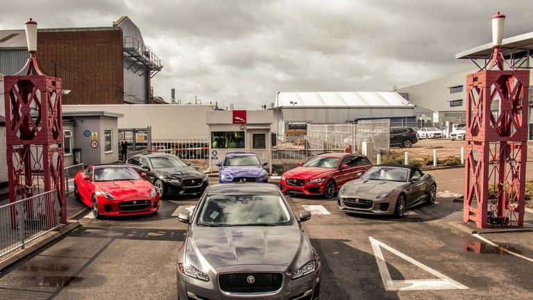 A range of Jaguar cars are shown at the Castle Bromwich plant. Pic: JLR