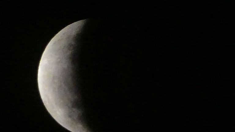 The moon is seen during a lunar eclipse in the sky Jakarta, on July 17, 2019