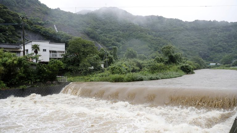 The Futami River in Kumamoto Prefecture is also dangerously high