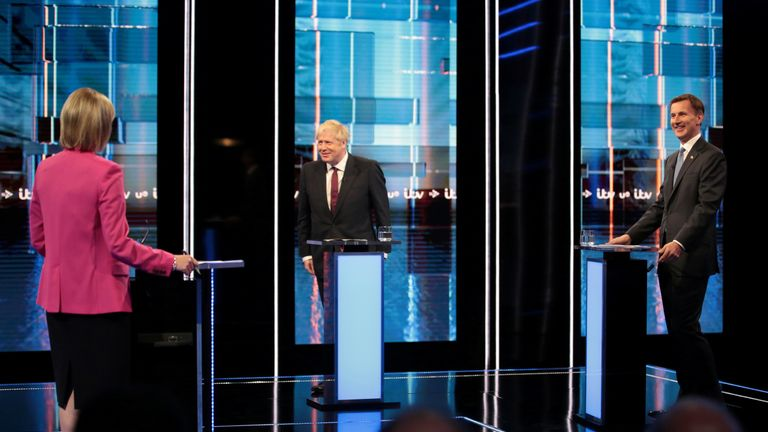 Boris Johnson and Jeremy Hunt take part in the ITV debate