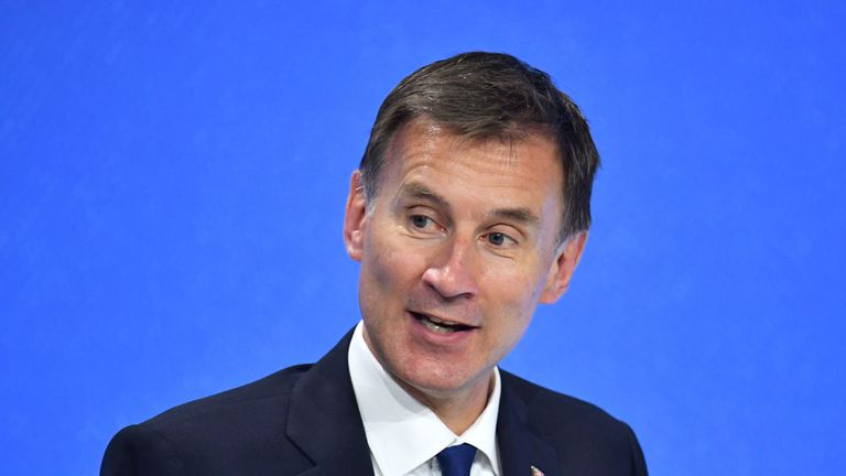 Foreign Secretary Jeremy Hunt, during the Global Conference for Media Freedom at The Printworks in London
