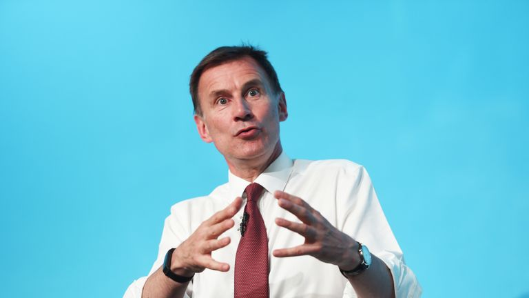 Conservative party leadership contender Jeremy Hunt during a Tory leadership hustings at the All Nations Centre in Cardiff