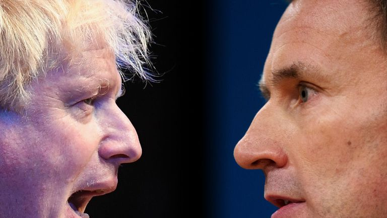 FILE PHOTO (EDITORS NOTE: COMPOSITE OF IMAGES - Image numbers 1044488356,612439836- GRADIENT ADDED) In this composite image a comparison has been made between Tory Leadership nominees Boris Johnson (L)and Jeremy Hunt. The Conservative party will vote on who will be their next leader with the result announced late July. ***LEFT IMAGE*** BIRMINGHAM, ENGLAND - OCTOBER 02: Boris Johnson speaks at a Conservative home fringe meeting on day three of the Conservative Party Conference on October 2, 2018