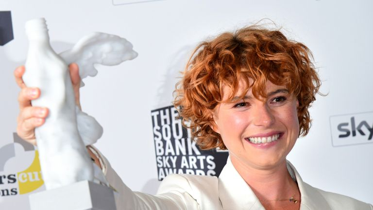 Jessie Buckley with the Times Breakthrough Award  presented by Charles Dance, at the South Bank Sky Arts Awards at the Savoy Hotel in London. PRESS ASSOCIATION Photo. Picture date: Sunday July 7, 2019. See PA story SHOWBIZ Arts. Photo credit should read: Ian West/PA Wire