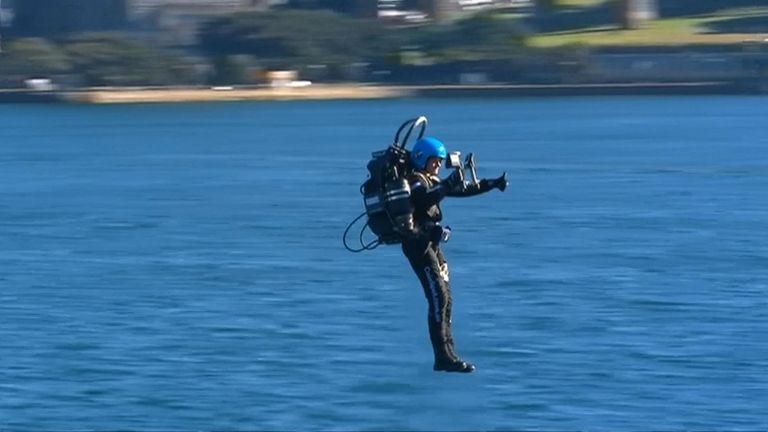 David Mayman, the Chief Executive Office of JetPack Aviation performed spins and flew backwards around Sydney Harbour