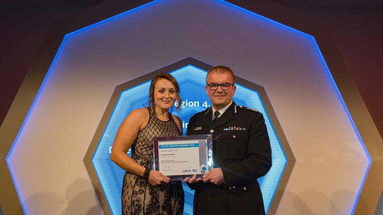 DC Joanne Smith chased after armed robbery suspects while off duty. Pic: Police Federation