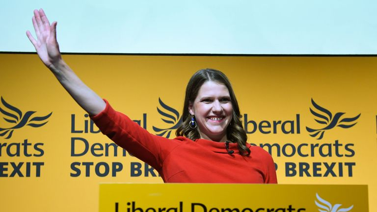 Jo Swinson speaking after she was elected leader of the Liberal Democrats