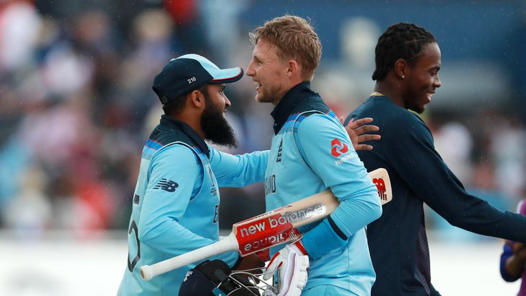 Joe Root and Adil Rashid celebrates England's victory  at Edgbaston