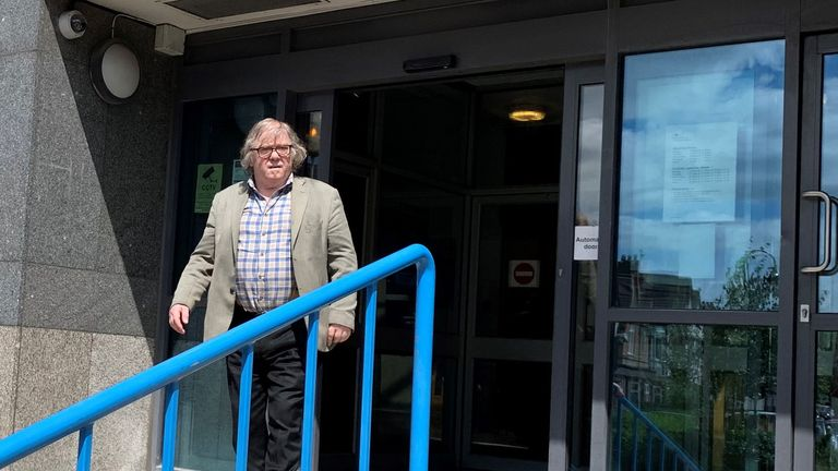 John Keogh, 74, leaves Croydon Magistrates Court in south London after he was fined ..600 for committing a racially aggravated offence on August 30 2018.