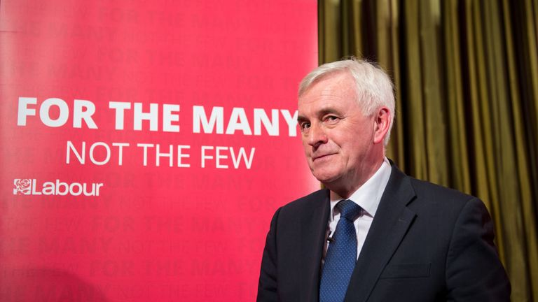 LONDON, ENGLAND - MARCH 09: Labour Party Shadow Chancellor John McDonnell leaves after delivering a pre-spring statement on March 9, 2018 in London, England. The government will respond to the forecast from the Office for Budget Responsibility in a spring statement on March 13, 2018. (Photo by Chris J Ratcliffe/Getty Images)