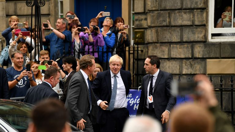 Prime Minister Boris Johnson arrives for his meeting with Scotland's First Minister Nicola Sturgeon outside Bute House on July 29, 2019 in Edinburgh, Scotland