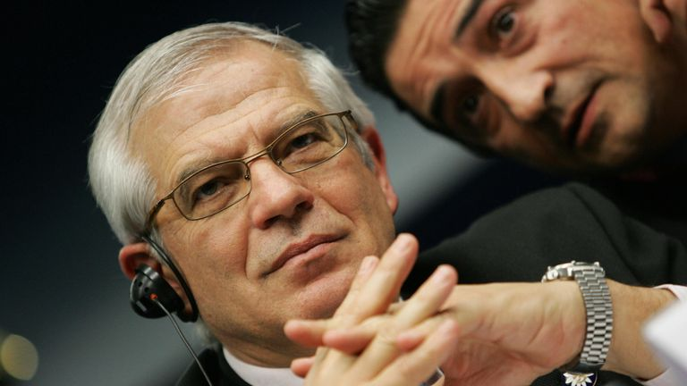 Brussels, Belgium: European Parliament President Josep Borrell Fontelles gives a press conference during a European Union summit 14 December 2006, in Brussels. European Union leaders converged on Brussels Thursday for a summit that will see them slow down the process of EU enlargement at least until they have a clearer vision of the bloc's future. AFP PHOTO/JOHN THYS (Photo credit should read JOHN THYS/AFP/Getty Images)