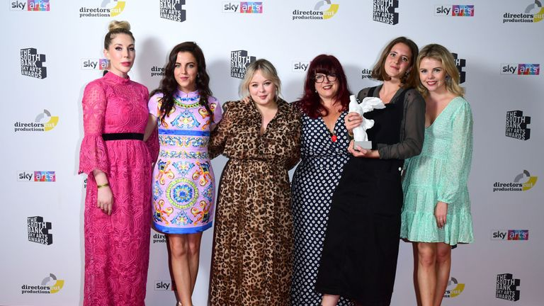 Jamie-Lee O'Donnell, Nicola Coughlan, Liz Lewin, Louisa Harland and Saoirse-Monica Jackson for with the Comedy Award for Derry Girls presented by Katherine Ryan, at the South Bank Sky Arts Awards at the Savoy Hotel in London