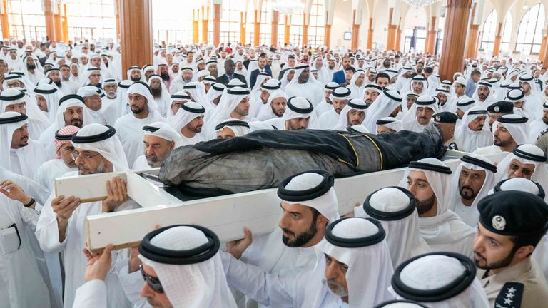 Funeral prayers were held at the King Faisal Mosque in Sharjah