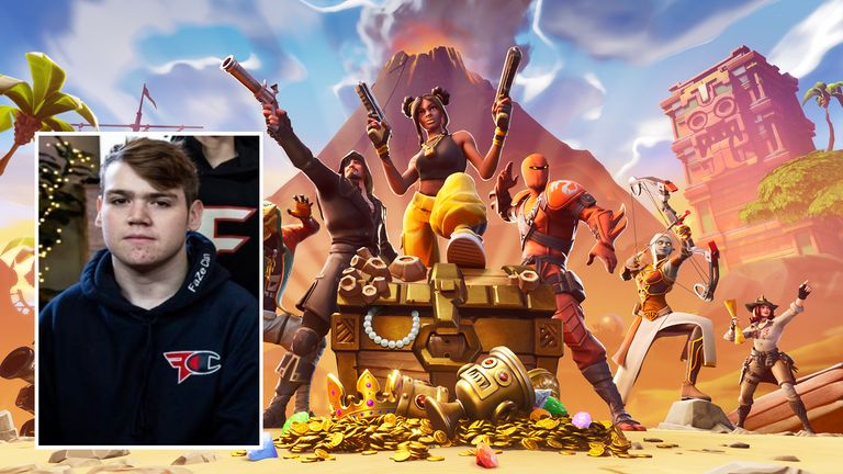 Kyle Jackson (inset) became the world's youngest professional Fortnite player. Pic: @FazeClan/Epic Games