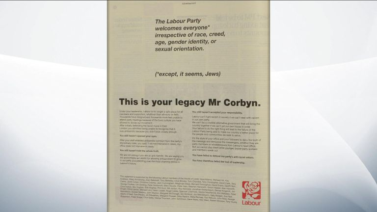An advert in The Guardian taken out by Labour peers attacking Jeremy Corbyn
