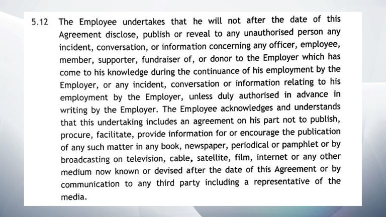 Sky News obtained the non-disclosure agreement between the Labour Party and Sam Matthews, its former head of disputes