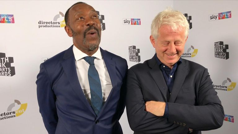 Sir Lenny Henry and Richard Curtis share a laugh backstage