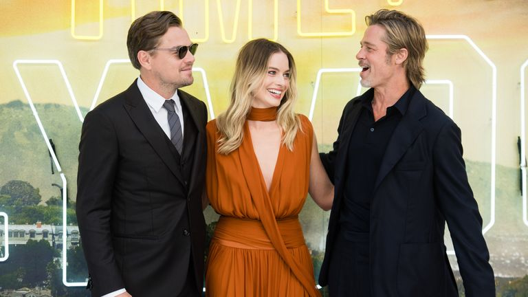 "Leonardo DiCaprio, Margot Robbie and Brad Pitt attend the ""Once Upon a Time... in Hollywood"" UK Premiere at Odeon Luxe Leicester Square on July 30, 2019 in London"