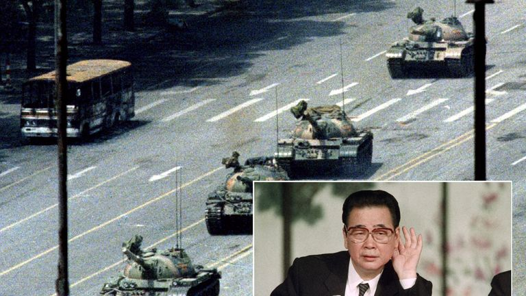 Li Peng (inset) ordered the crackdown in Tiananmen Square