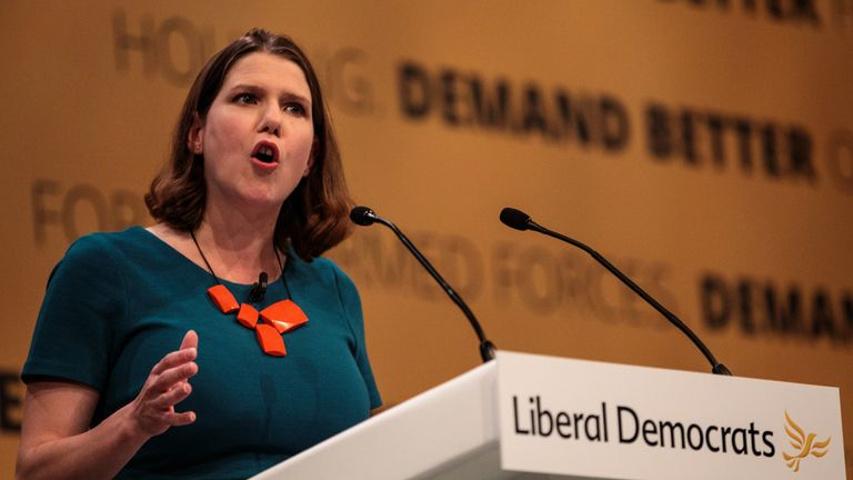 "BRIGHTON, ENGLAND - SEPTEMBER 16: Deputy Leader of the Liberal Democrats Jo Swinson MP makes a speech at the Liberal Democrat Party Conference at the Brighton Centre on September 16, 2018 in Brighton, England. Liberal Democrat Leader Vince Cable has announced that he plans to step down ""once Brexit is resolved or stopped"". (Photo by Jack Taylor/Getty Images)"