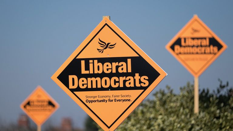 REDCAR, UNITED KINGDOM - APRIL 24:  Campaign signs showing support for the Liberal Democrat candidate Josh Mason are seen outside homes on April 24, 2015 in Redcar, England. The Liberal Democrats currently hold the seat after taking control from Labour in the last election. Labour have mounted a strong campaign to try and win the seat back ahead of the General Election which takes place on May 7.  (Photo by Ian Forsyth/Getty Images)