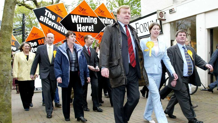 Liberal Democrat Leader Charles Kennedy (C) with Jo Swinson (2nd right), prospective candidate for east Dunbartonshire on a walkabout during a visit to Milngavie.