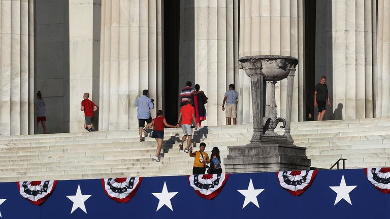 Tourist visit the Lincoln Memorial ahead of Thursdays July 4th Salute to America celebration, on July 2, 2019 in Washington, DC. President Trump will deliver a speech at the memorial and has asked the Pentagon for military hardware to be on hand including tanks, and flyovers by military aircraft