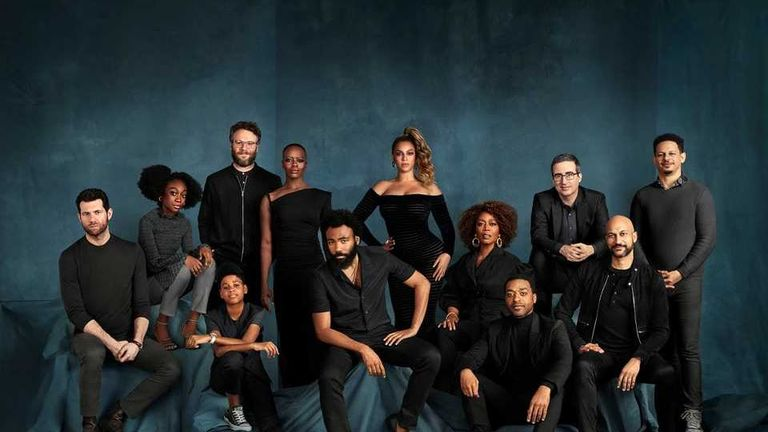 The official Lion King cast photo - comedian John Oliver has confirmed Beyonce wasn't present for the shoot. Pic: Walt Disney Studios