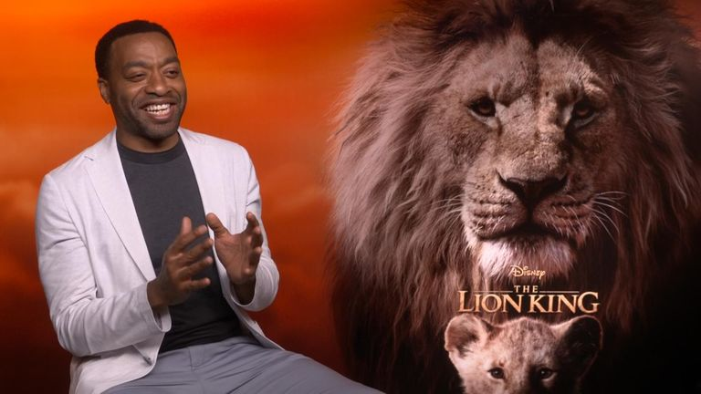 Actor Chiwetel Ejiofor, who voices 'Scar' in the new Lion King, said the stampede scene was 'slightly gentler' than the animation