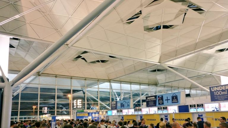 Hundreds were said to have been stranded at London Stansted Airport last night
