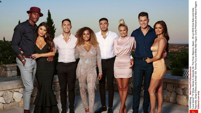 The Love Island 2019 finalists: Ovie Soko and India Reynolds, Greg O'Shea and Amber Gill, Tommy Fury and Molly-Mae Hague, Curtis Pritchard and Maura Higgins
