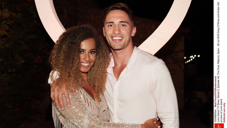 Amber Gill and Greg O'Shea have won Love Island. Pic: ITV