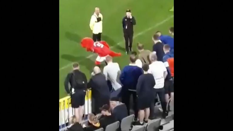 Manchester United's mascot Fred the Red caused quite a stir during a preseason clash with Leeds United.