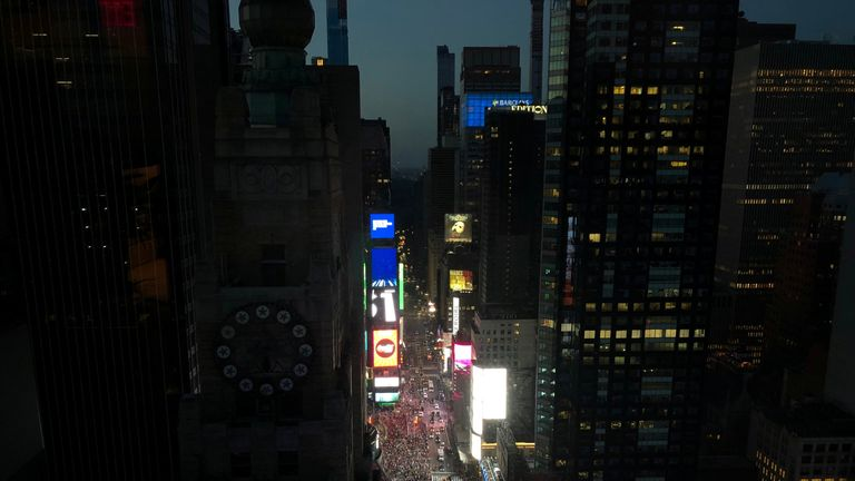 A blackout affects buildings in the Manhattan borough of New York