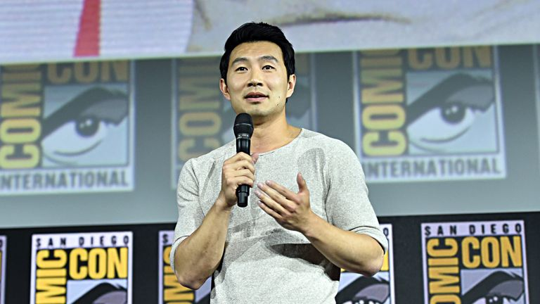 Simu Liu of Marvel Studios' 'Shang-Chi and the Legend of the Ten Rings' at the San Diego Comic-Con International 2019 Marvel Studios Panel in Hall H on July 20, 2019 in San Diego, California
