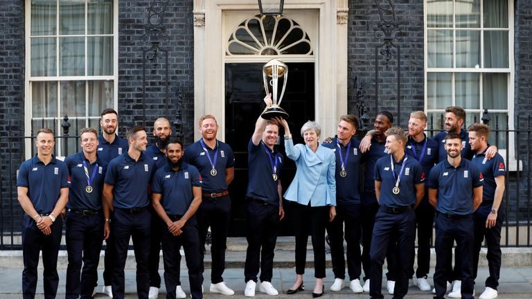 Theresa May is hosting the victorious England cricket team at Downing Street