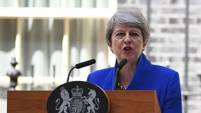 Britain's outgoing prime minister Theresa May gives a speech outside 10 Downing street in London on July 24, 2019 before formally tendering her resignation at Buckingham Palace. - Theresa May is set to formally resign on July 24 after taking her final PMQs in the House of Commons with Boris Johnson taking charge at 10 Downing Street on a mission to deliver Brexit by October 31 with or without a deal