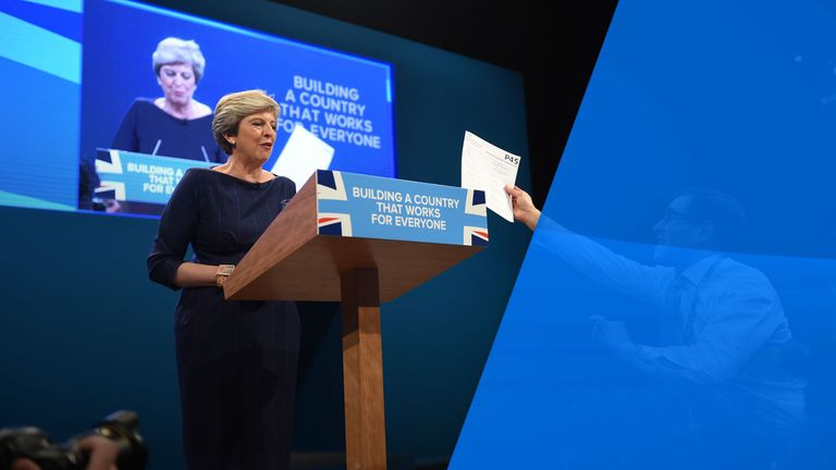 During a disastrous party conference speech, Mrs May was handed a P45 by a joker