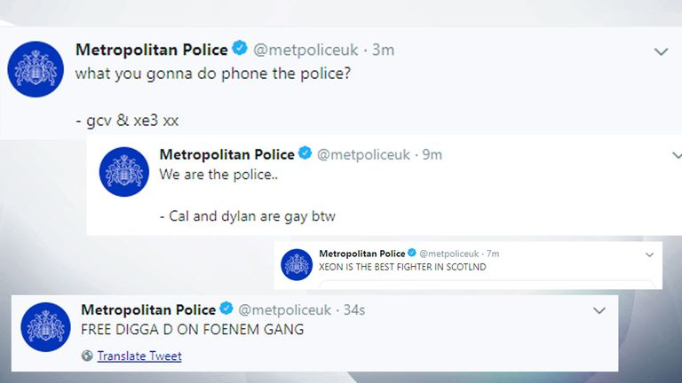 The Metropolitan Police Twitter account appeared to have been hacked