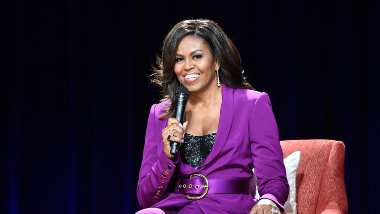 Former First Lady Michelle Obama attends 'Becoming: An Intimate Conversation with Michelle Obama' at State Farm Arena on May 11, 2019 in Atlanta, Georgia. (Photo by Paras Griffin/Getty Images)