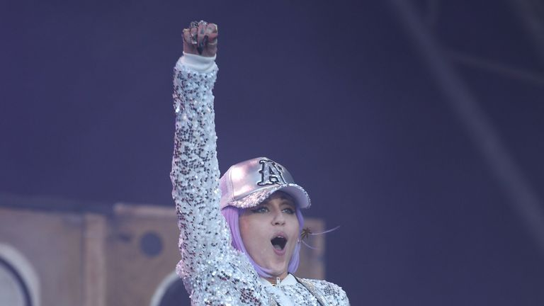 Miley Cyrus performing on the fifth day of the Glastonbury Festival